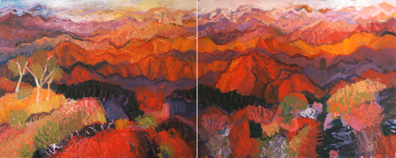 Arkaroola View (diptych), 2014, oil on canvas, 80x200cm