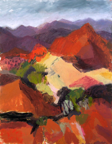 Belinda Street Australian Artist landscape painting View From Coulthards Lookout, oil on board, 70x50cm - SOLD