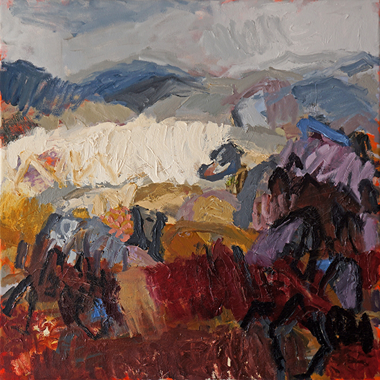 Belinda Street Australian Artist landscape painting Across The Monaro, 2016, Oil on canvas, 60x60cm