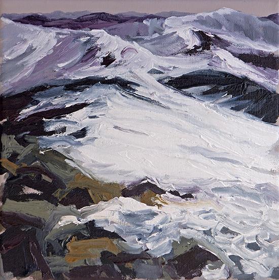 Belinda Street Australian Artist landscape painting Kosciuszko Study 7, 2016, oil on canvas, 25x25cm