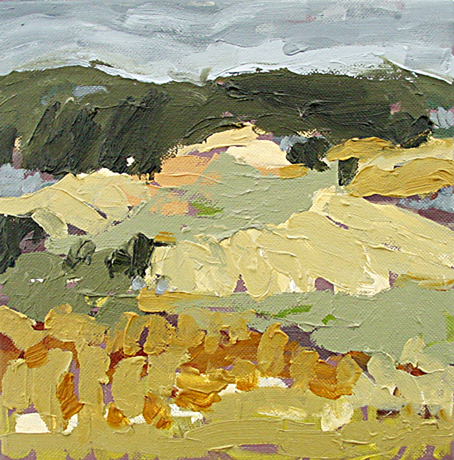 Belinda Street Australian Artist landscape painting Hunter Valley Study 2, 2007, oil on canvas, 20x20cm