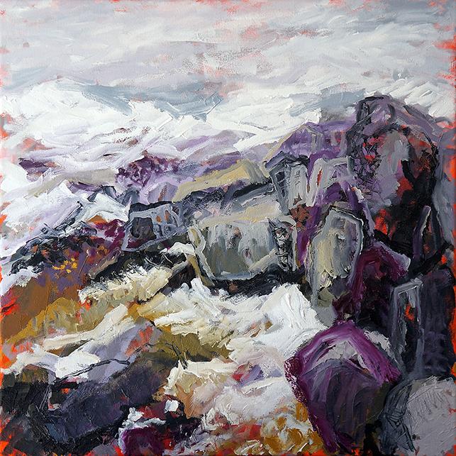 Belinda Street Australian Artist landscape painting snowy mountain Mount Kosciuszko Snowy Outcrop 1, oil on canvas, 60x60cm