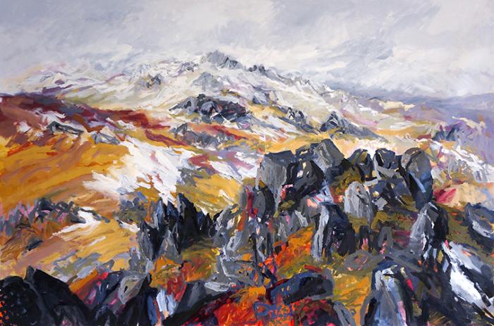 Belinda Street Australian Artist landscape painting snowy mountain Mount Kosciuszko Spring Thaw Oil on canvas, 100x150cm