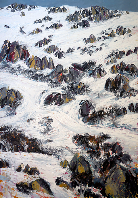 Belinda Street Australian Artist landscape painting snowy mountain Mount Kosciuszko Blue Cow, Home Trail Oil on canvas, 200x140cm
